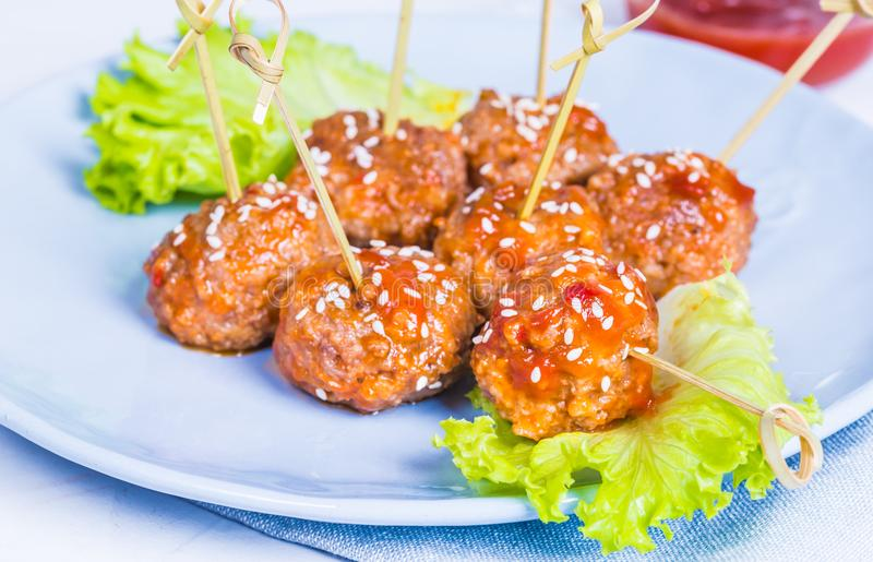 Meatballs in plate. royalty free stock image