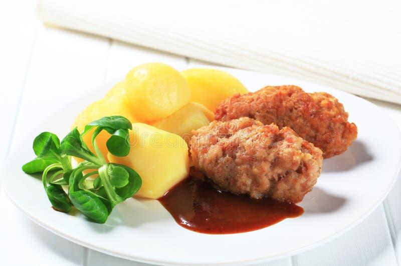 Download Meatballs and potatoes stock image. Image of closeup - 23748685