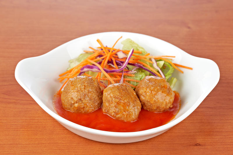 Meatballs With Salad Stock Images