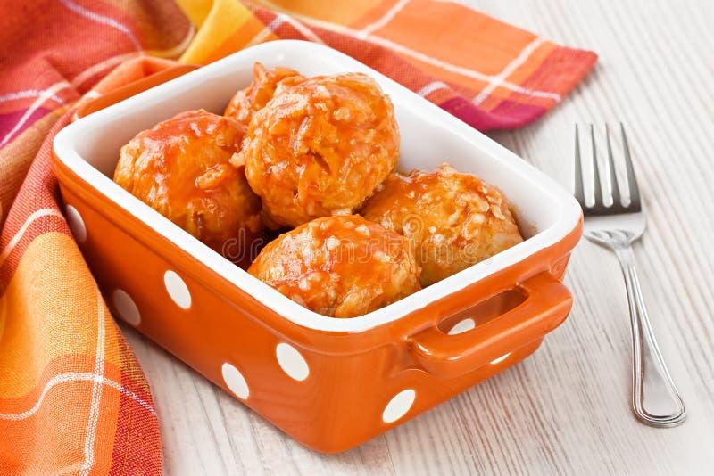 Meatballs with tomato sauce stock photos