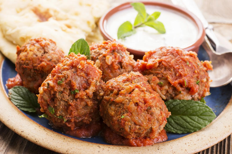 Meatballs with Yoghurt Dip and Bread stock photo