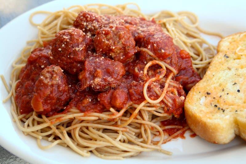 meatballsspagetti royaltyfria foton