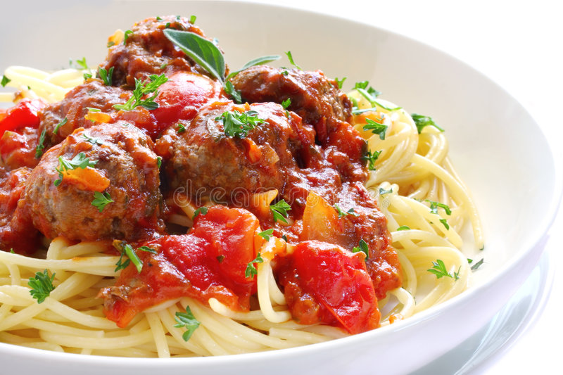 meatballsspagetti royaltyfri fotografi