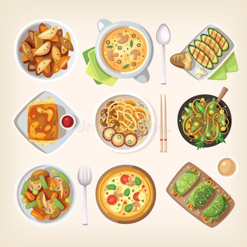 Meatless vegetarisk kokkonst stock illustrationer