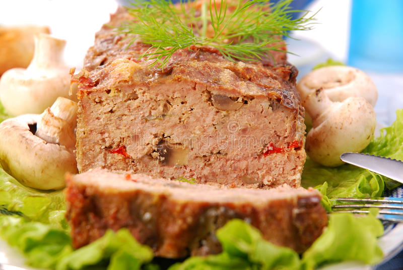 Meatloaf with mushrooms and paprika royalty free stock photos