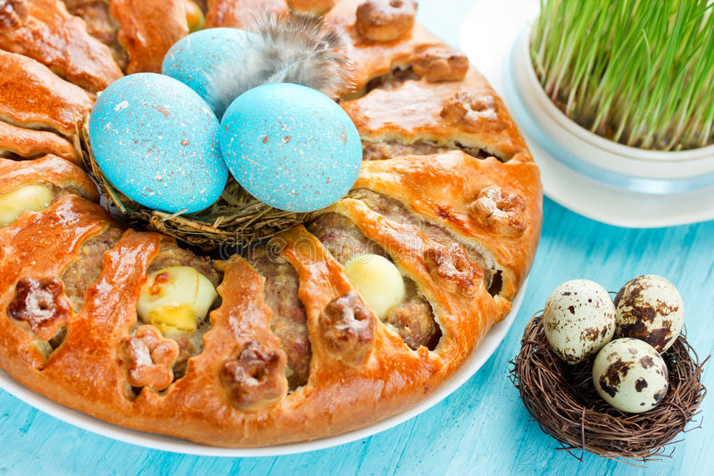 Meatloaf ring stuffed eggs for Easter stock photos