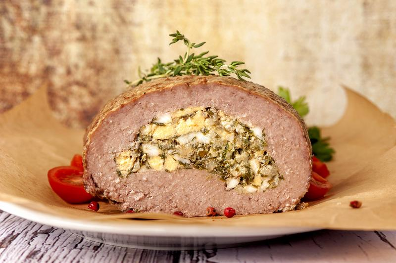 Meatloaf stuffed with eggs royalty free stock image