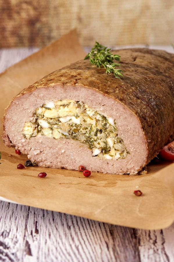 Meatloaf stuffed with eggs royalty free stock photography