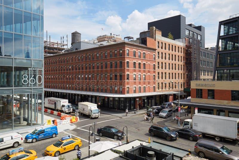 Meatpacking gromadzkiego rozdroża podwyższony widok w Nowy Jork zdjęcia royalty free