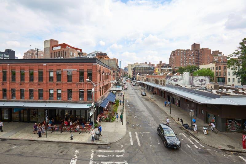 Meatpacking gromadzkiego rozdroża podwyższony widok w Nowy Jork obrazy stock