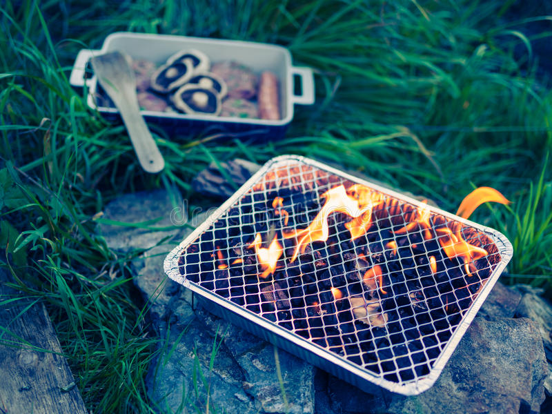 Meats and barbecue in garden stock image