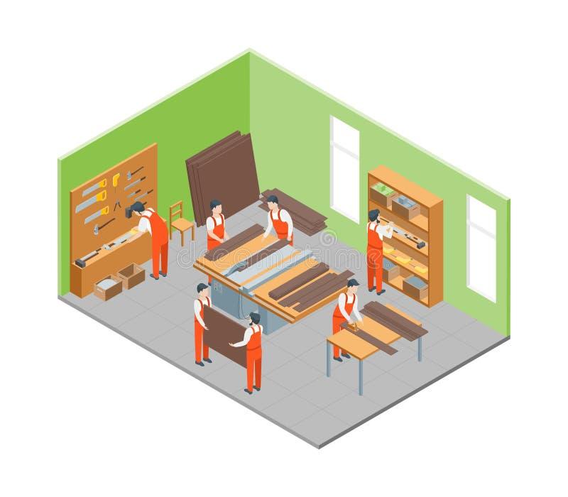 Meblarscy producenci przy pracą i wnętrzem z elementu Isometric widokiem wektor ilustracji