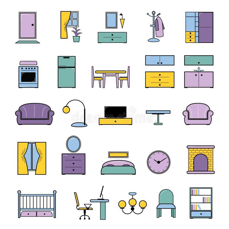 Meblarski bezszwowy deseniowy wektorowy meblowanie projekt w wnętrzu sypialnia lub żywy pokój z kanapy łóżka karłem i ilustracja wektor