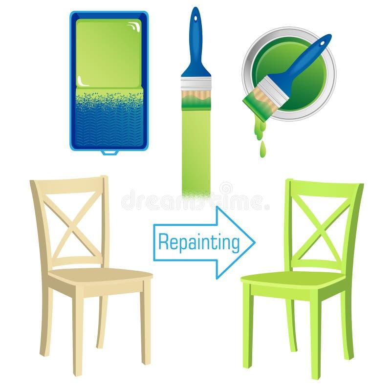 Meblarski odmalowanie wytłacza wzory rolownika, muśnięcia, cyny farba i malującego drewnianego krzesła, ilustracji
