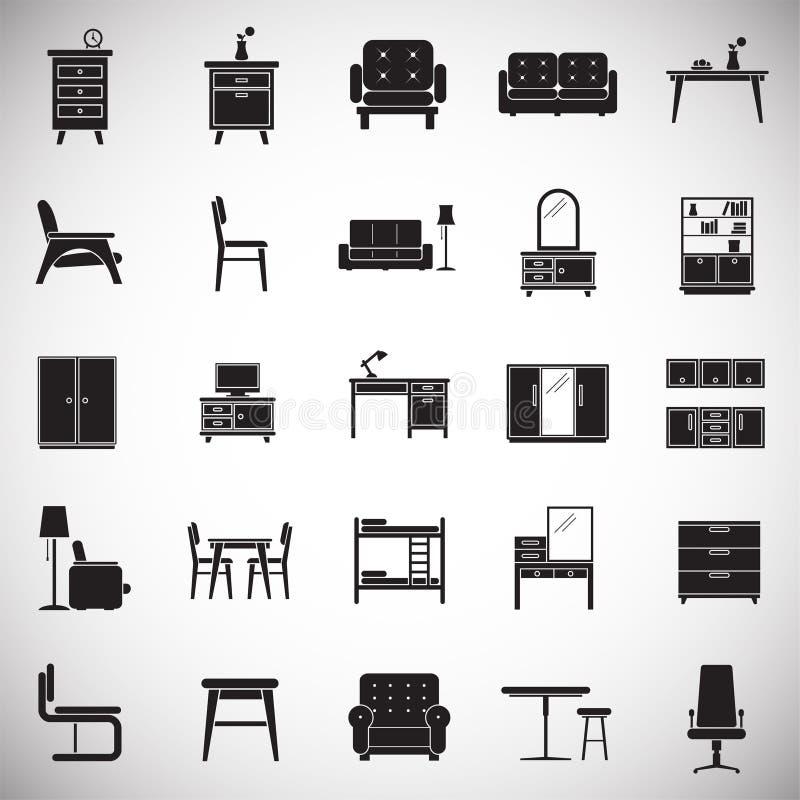 Meblarskie ikony ustawiać na białym tle dla grafiki i sieci projekta Prosty wektoru znak Internetowy pojęcie symbol dla ilustracja wektor