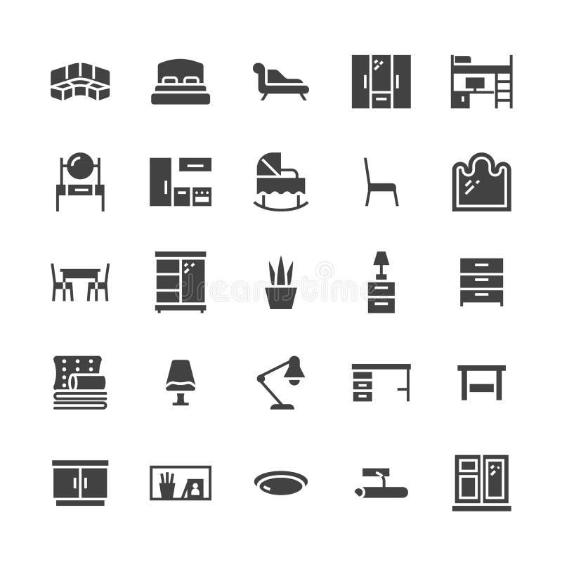 Meblarskie wektorowe płaskie glif ikony Żywy pokój, sypialnia, dziecka ściąga, kuchni narożnikowa kanapa, pepiniera łomota stół,  royalty ilustracja