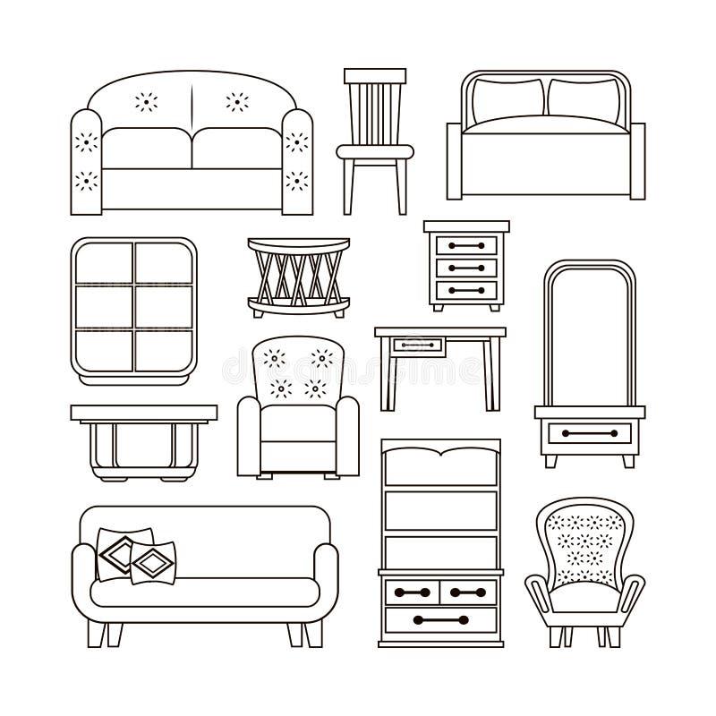Meblarskie wewnętrzne ikony ilustracji