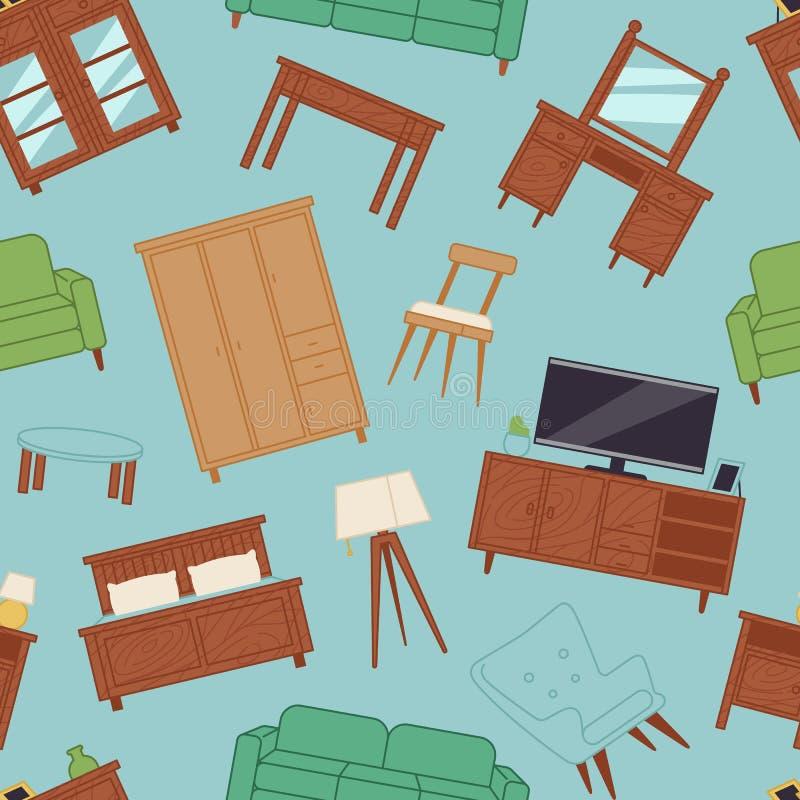Meblarskiego wnętrze domu projekta pokoju nowożytnego żywego domu tła wektoru bezszwowa deseniowa ilustracja ilustracji