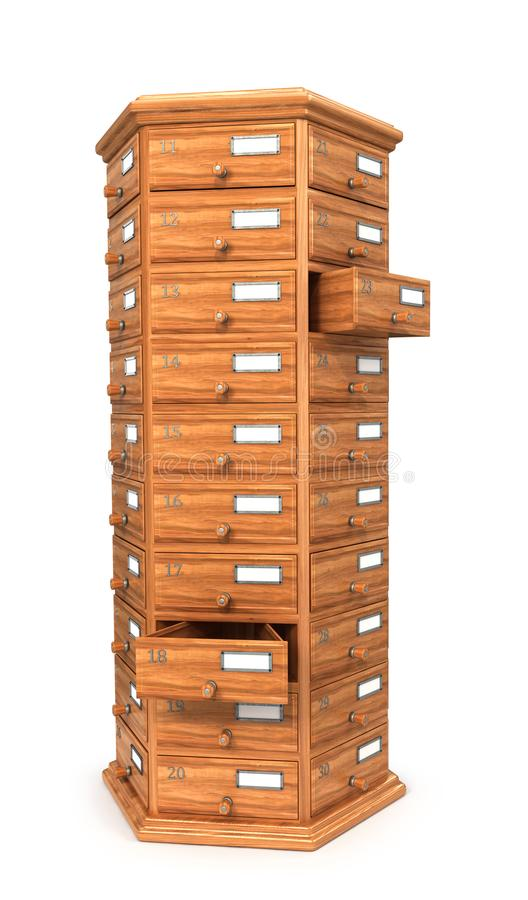 Meble, archiwa Wezgłowie stół, drewniani pudełka Nowożytny projektant, klatka piersiowa kreślarzi, odizolowywająca na białym tle  ilustracji