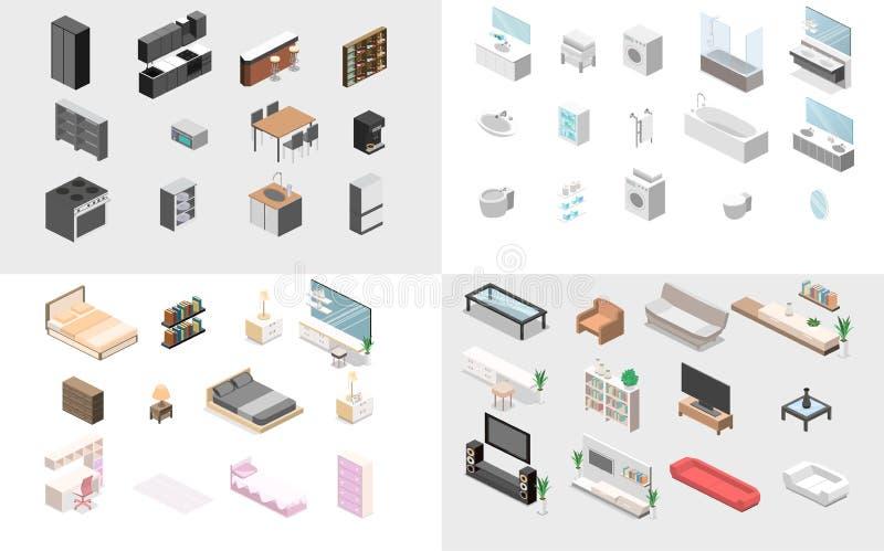Meble dla mieszkania Isometric mieszkania 3D pojęcia wektoru odosobniony cutaway ilustracja wektor