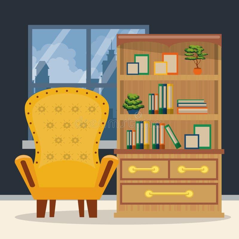 Meble domowy wnętrze royalty ilustracja