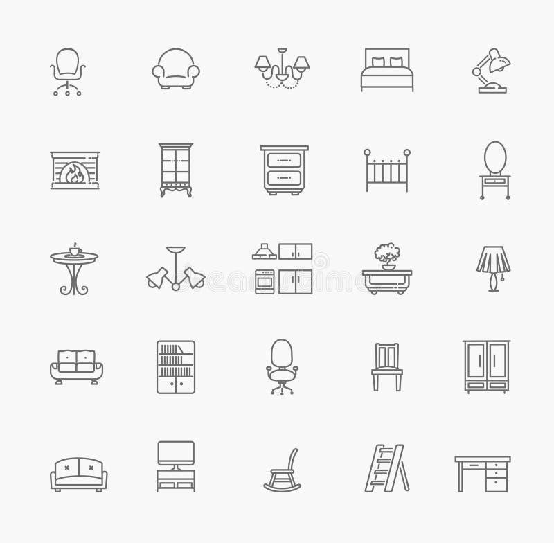 Meble i domowy wystrój ikony set również zwrócić corel ilustracji wektora ilustracji