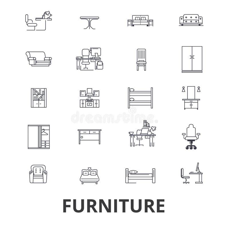Meble, meblarski projekt, wnętrze, krzesło, biurowy meble, żywe pokój linii ikony Editable uderzenia Płaski projekt ilustracji