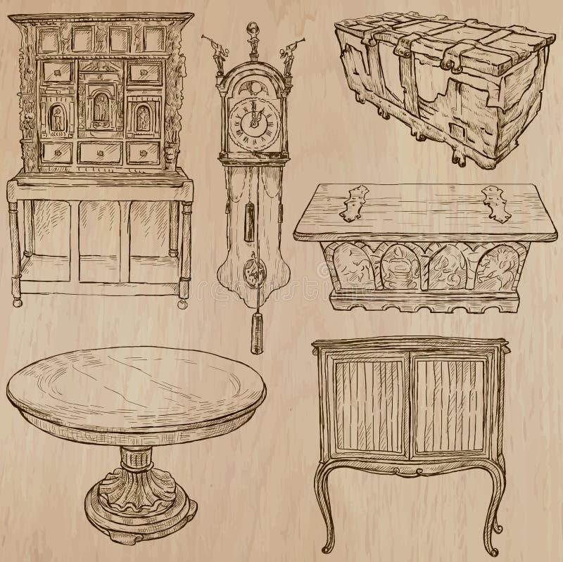 Meble - Wektorowi nakreślenia, kreskowa sztuka ilustracji