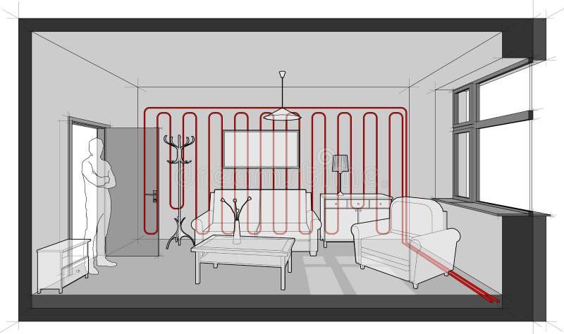 Meblujący żywy izbowy diagram z ściennym ogrzewaniem ilustracji