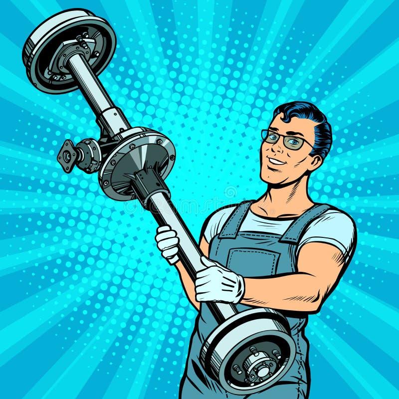Mecánico de coche de sexo masculino y vehículo con eje trasero stock de ilustración