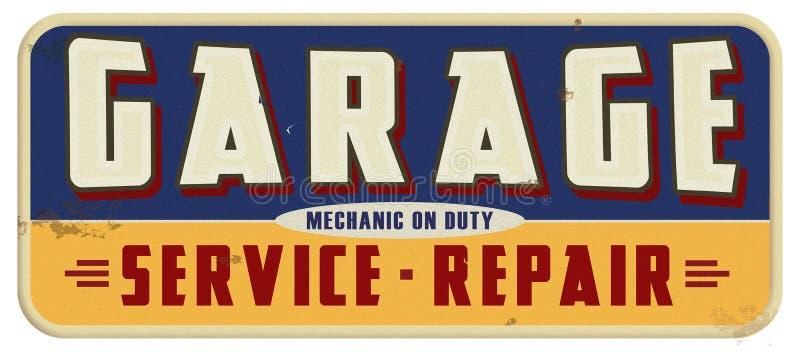 Mecánico On Duty Sign del garaje stock de ilustración
