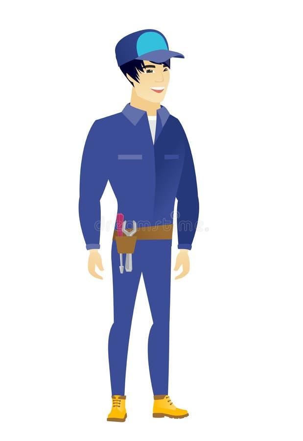 Mecánico feliz asiático joven stock de ilustración