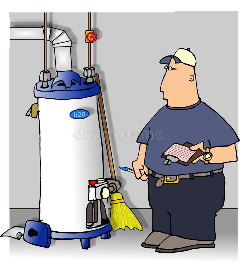 Mecánico que controla un calentador de agua stock de ilustración