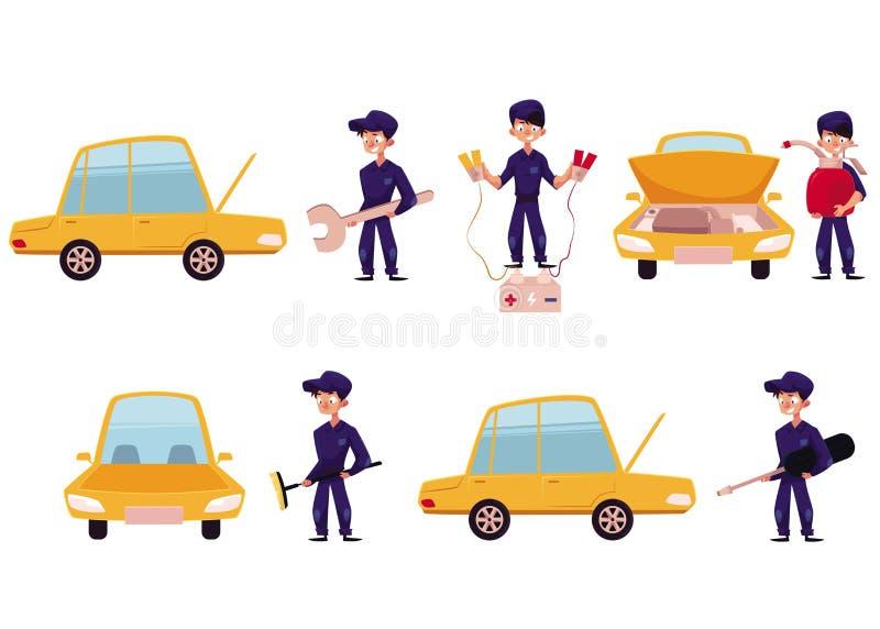 Mecánico, servicio del coche, taller de mantenimiento de la reparación stock de ilustración