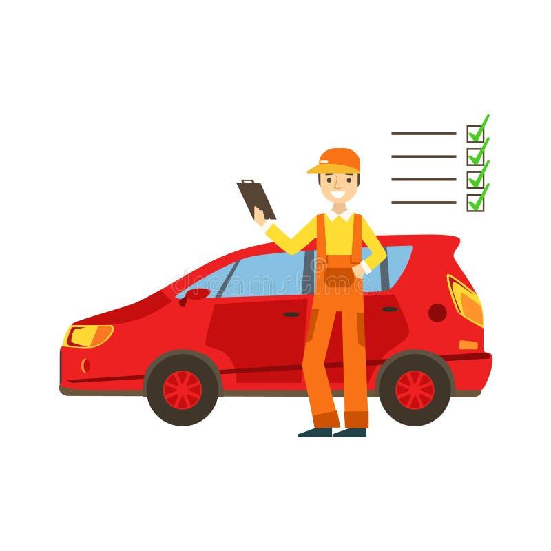 Mecánico sonriente Analysing With Checklist en el garaje, ejemplo del servicio del taller de la reparación del coche ilustración del vector