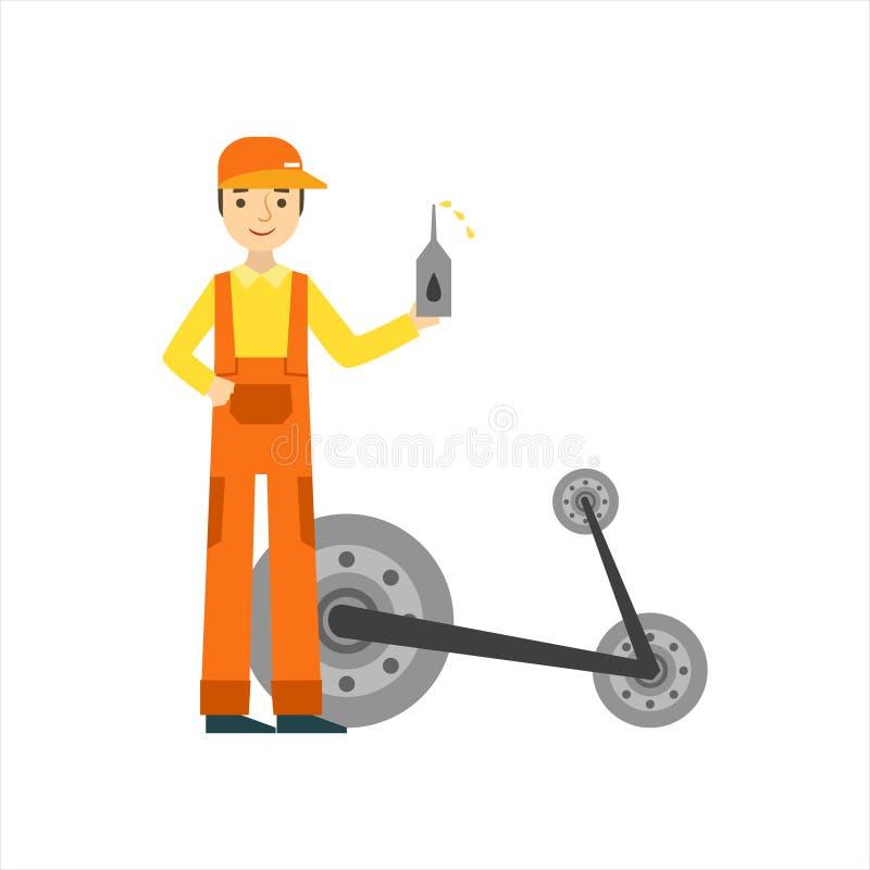 Mecánico sonriente Changing Oil In el garaje, ejemplo del servicio del taller de la reparación del coche ilustración del vector