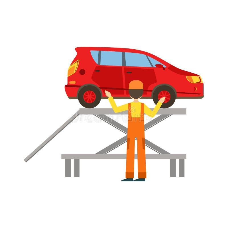 Mecánico sonriente Checking The Vehicle en el garaje, ejemplo del servicio del taller de la reparación del coche ilustración del vector