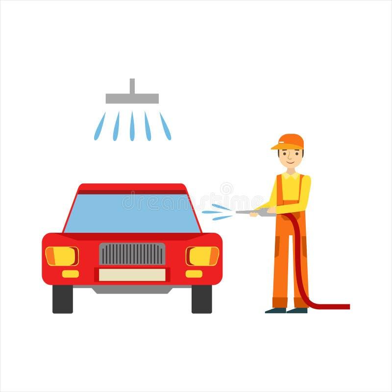 Mecánico sonriente Washing The Car en el garaje, ejemplo del servicio del taller de la reparación del coche ilustración del vector