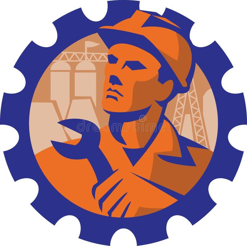 Mecánico Spanner Retro del trabajador de construcción libre illustration