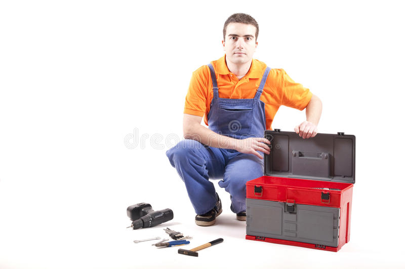Mecánico y caja de herramientas foto de archivo libre de regalías