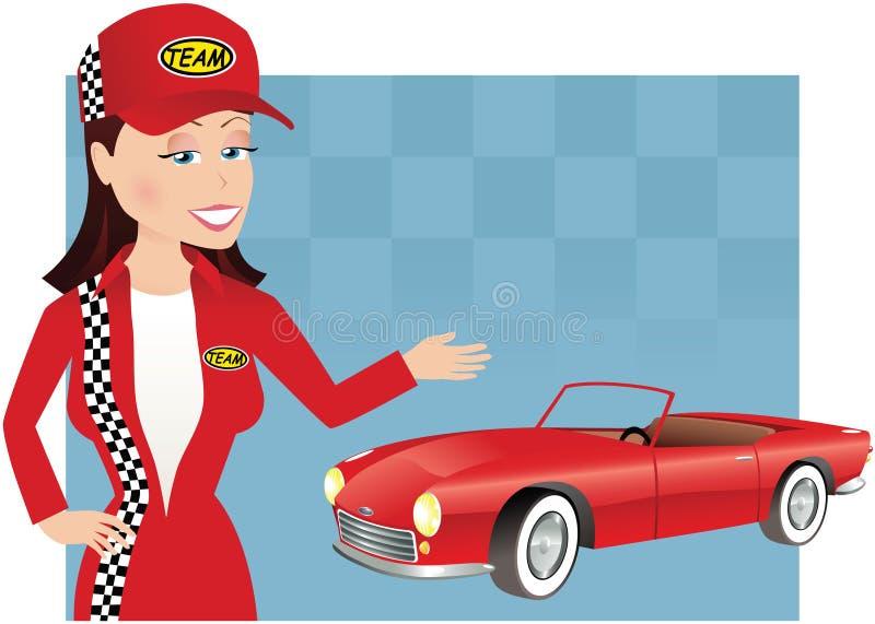 Mecánico y coche de la muchacha stock de ilustración
