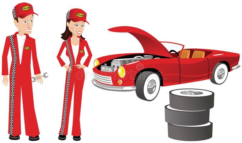 Mecánicos de automóviles y coche de competición libre illustration