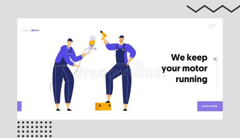 Mecánicos que llevan a cabo el arma del taladro y de espray, el personal de servicio de reparación con los instrumentos a disposi libre illustration