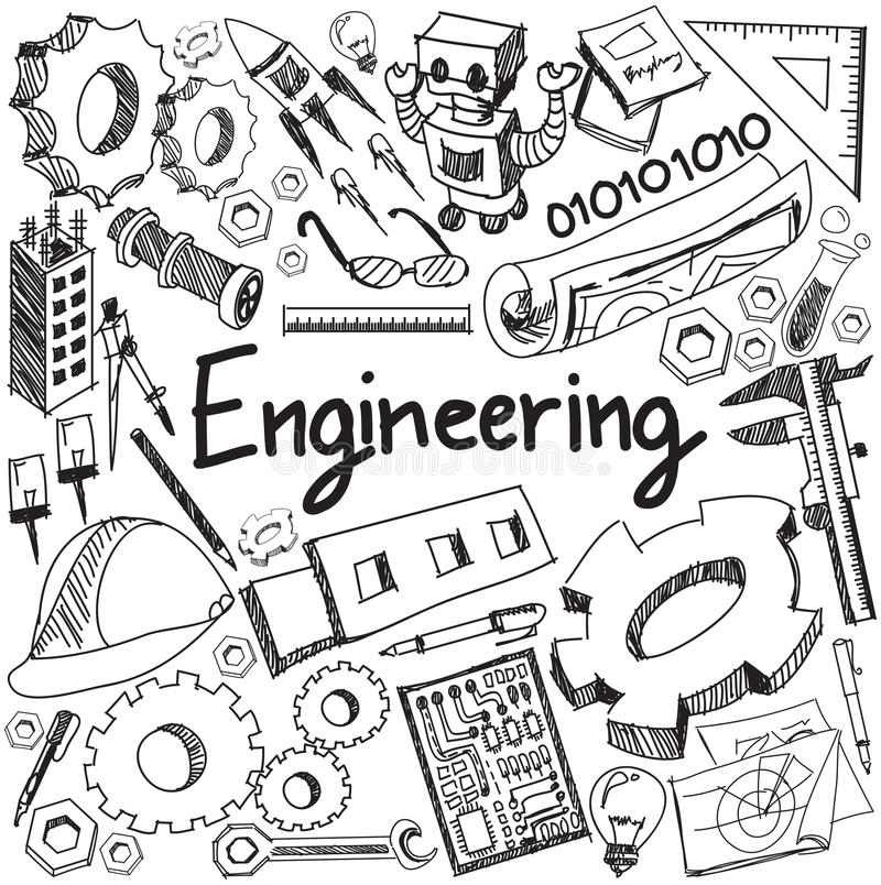Mecânico, bonde, civil, produto químico e o outro ed da engenharia ilustração royalty free
