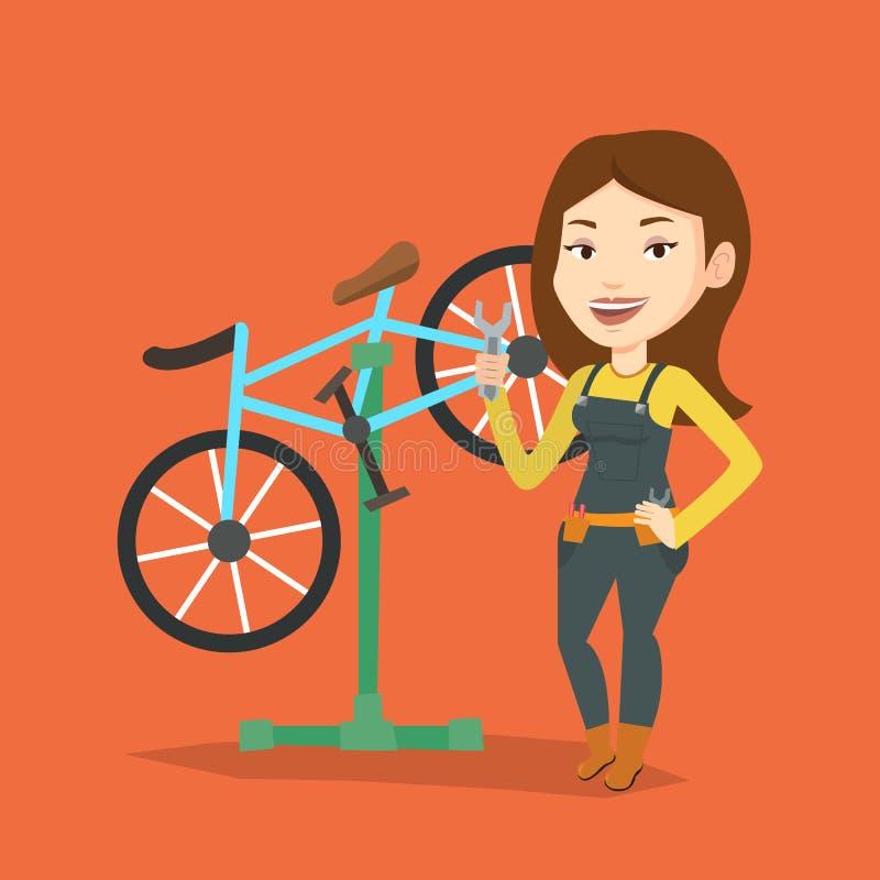 Mecânico caucasiano da bicicleta que trabalha na oficina de reparações ilustração royalty free