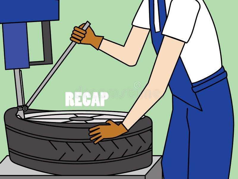 Mecânico com equipamento do reparo do pneu ilustração do vetor