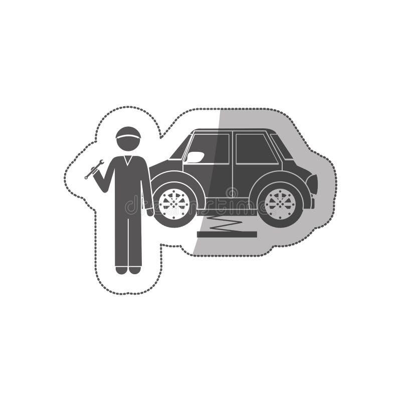 Mecânico da silhueta da etiqueta com chave inglesa e carro ilustração stock