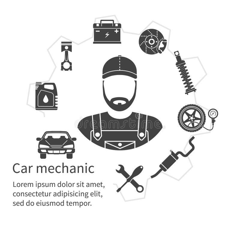 Mecânico de carro, ferramentas dos ícones e peças sobresselentes, conceito ilustração royalty free