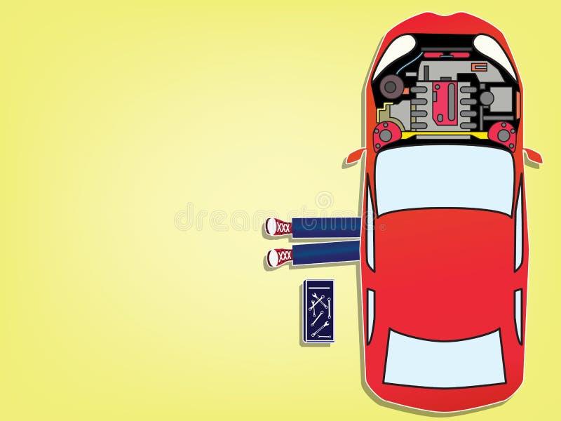 Mecânico de carro que encontra-se para baixo sob o carro vermelho que faz o trabalho do reparo ilustração royalty free