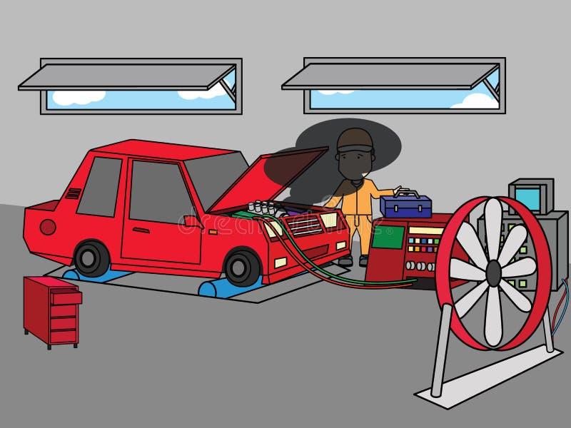 Mecânico de carro que trabalha no serviço de reparação de automóveis ilustração stock